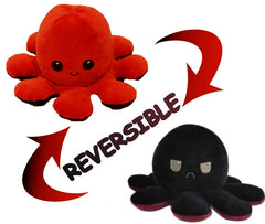 Octopus Reversible Plush Double-Sided Flip Doll - Red & Black - Funky Toys