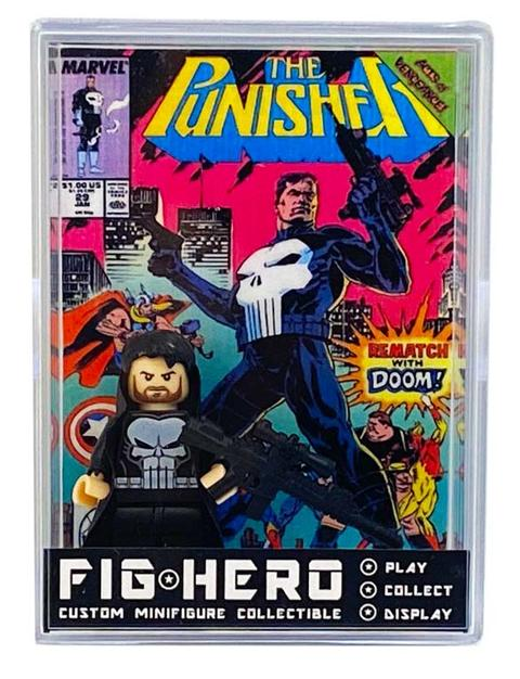 FIGHERO - Punisher - Custom Minifigure w/ Card & Display