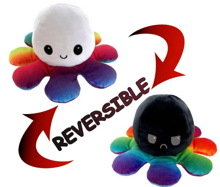 Octopus Reversible Plush Double-Sided Flip Doll - White & Black & Rainbow - Funky Toys