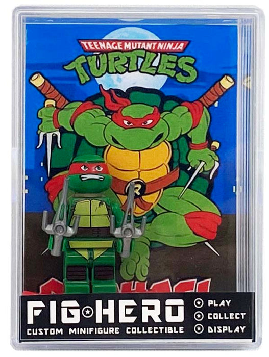 FIGHERO - Raphael Ninja Turtles - Custom Minifigure w/ Card & Display