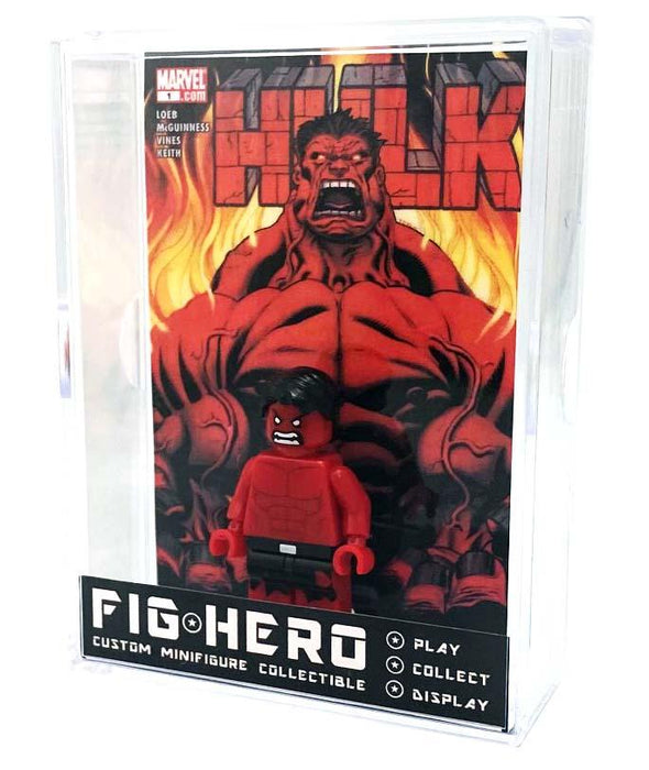 FIGHERO - Red Hulk - Custom Minifigure w/ Card & Display