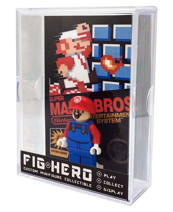 FIGHERO - Super Mario - Custom Minifigure w/ Card & Display