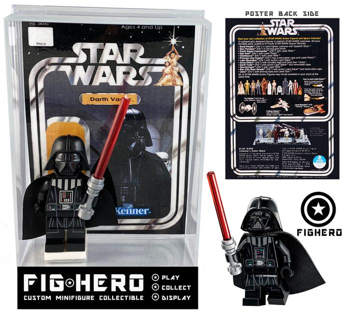 FIGHERO - Darth Vader - Custom Minifigure w/ Card & Display