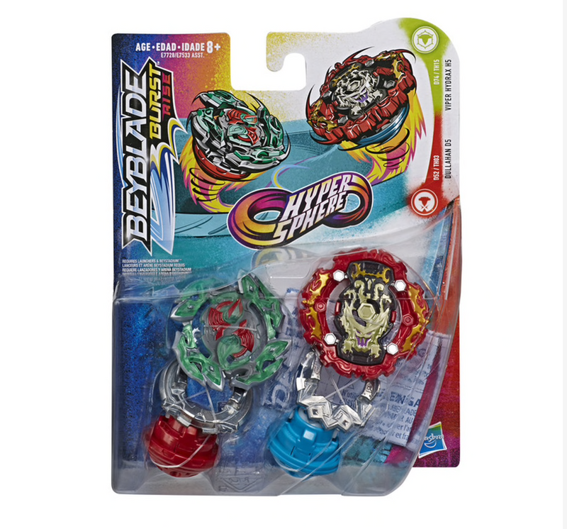 Beyblade Burst Rise Hypersphere Dual Pack - Dullahan D5 & Viper Hydrax H5 - Funky Toys