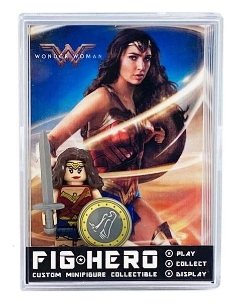FIGHERO - Wonder Woman - Custom Minifigure w/ Card & Display
