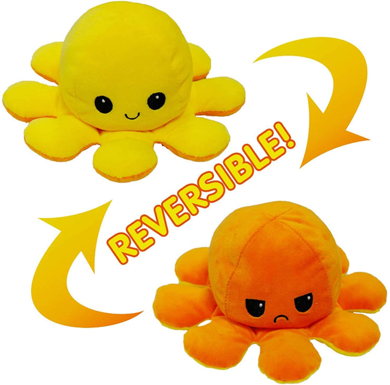Octopus Reversible Plush Double-Sided Flip Doll - Yellow & Orange - Funky Toys