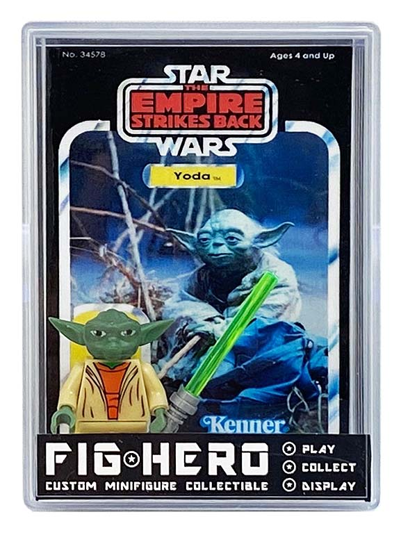 FIGHERO - Yoda - Custom Minifigure w/ Card & Display