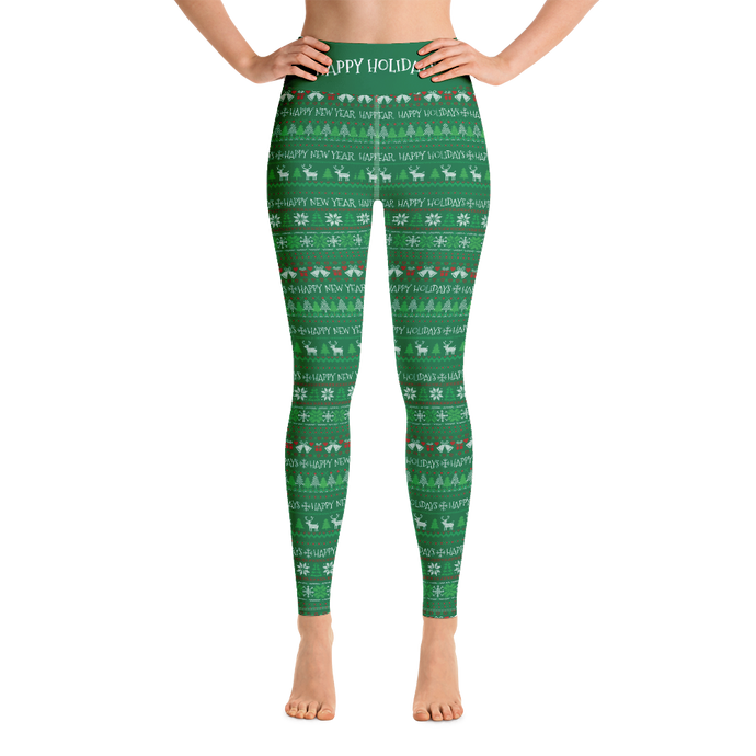 Happy Holidays UGLY SWEATER pattern- Yoga Leggings