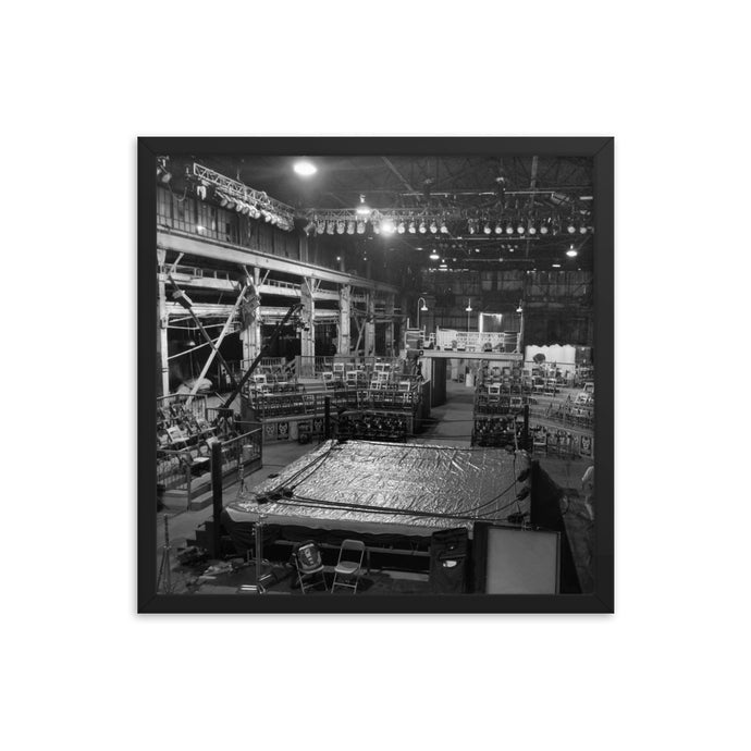 Wrestling ring after-hours - BLK/WHT - T-Bone's Prints - Framed poster