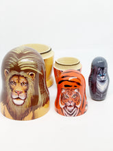 Load image into Gallery viewer, Lion, Tiger, Kitty nesting dolls