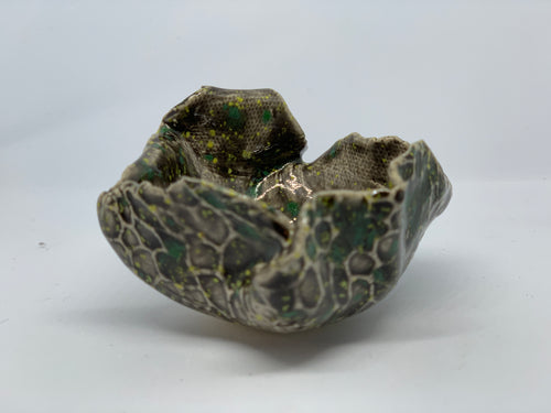 Brown and green pinch pot