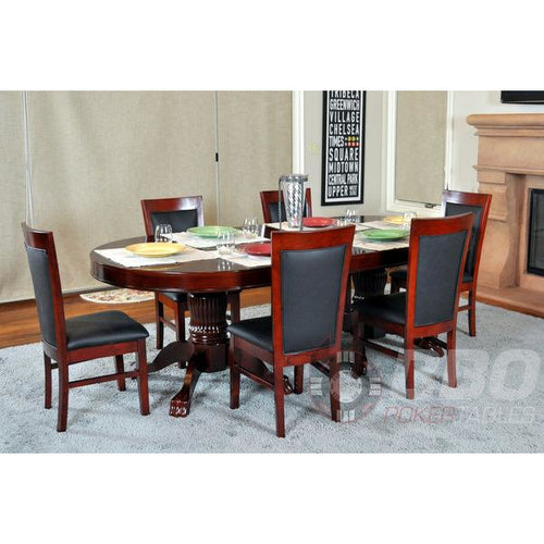 BBO Classic Poker Table Chairs Mahogany