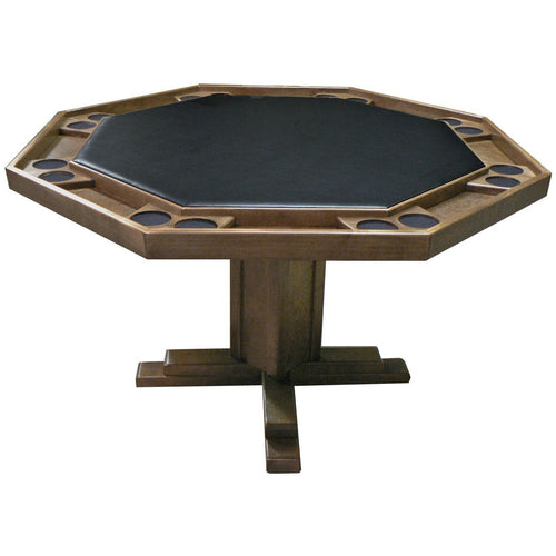Poker Table 8 Person Oak Pedestal Base 52