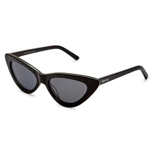PO Polarised Vintage Ladies Cats Eye Sunglass-Black Smoke Lens