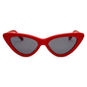 PO Polarised Vintage Ladies Cats Eye Sunglass-Red Smoke Lens