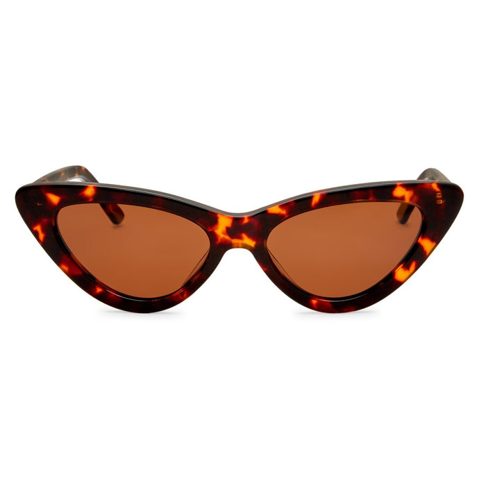 PO Polarised Vintage Ladies Cats Eye Sunglass-Tort Brown Lens