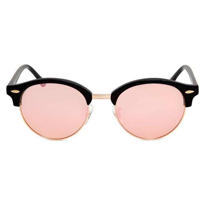 Nile Polarised Round Vintage Sunglasses with Pink Mirror