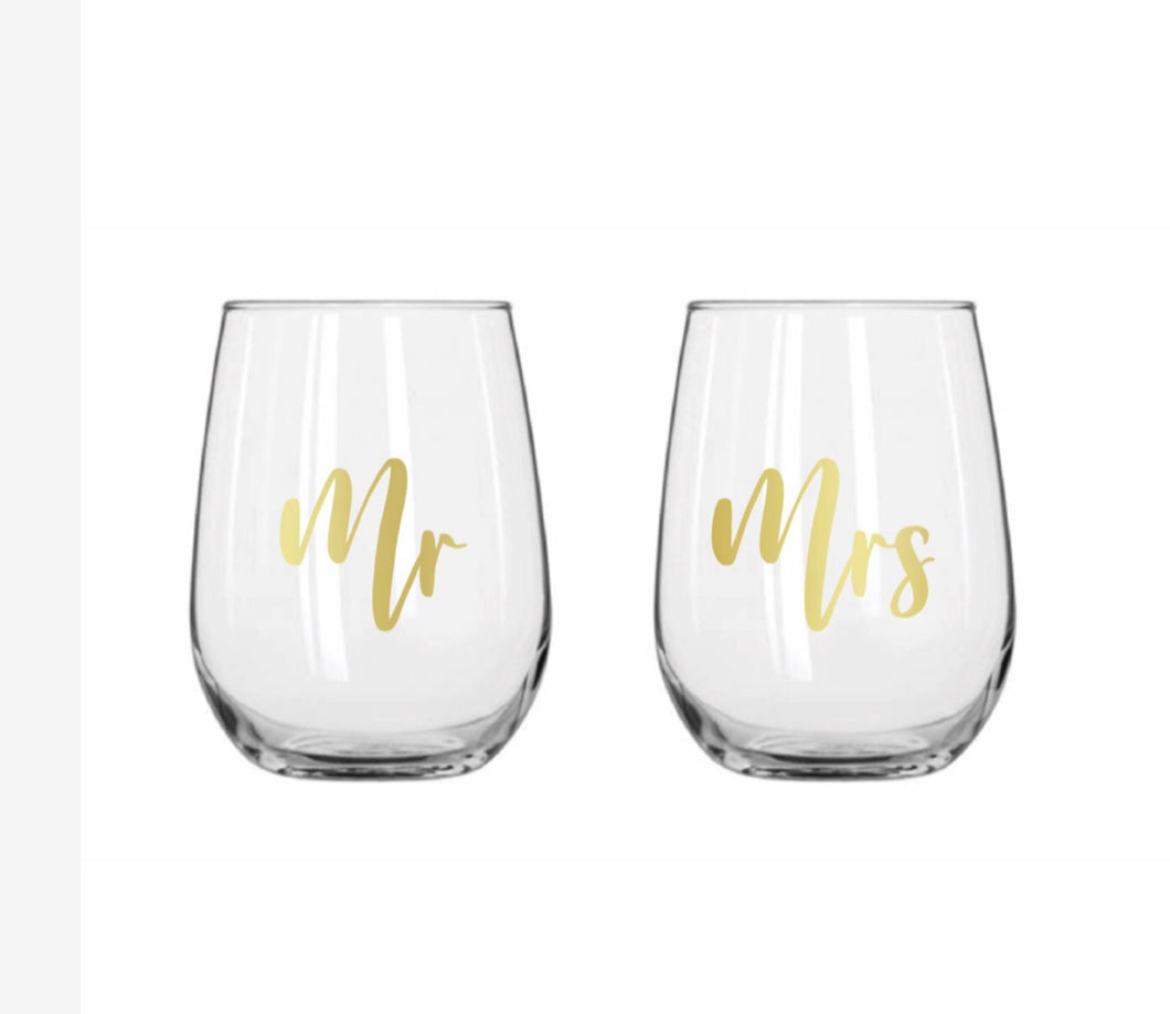 MR & MRS STEMLESS SET OF 2 BG1460 $29.95
