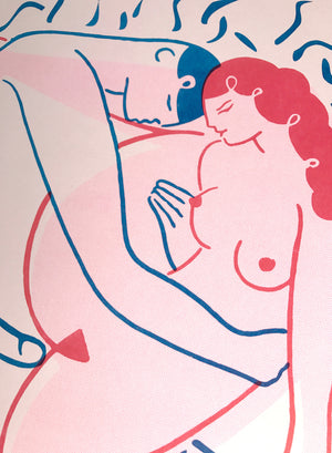 The Kiss- Risograph Print
