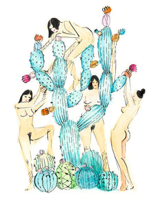 Babes in the Cactus Garden - Original Art