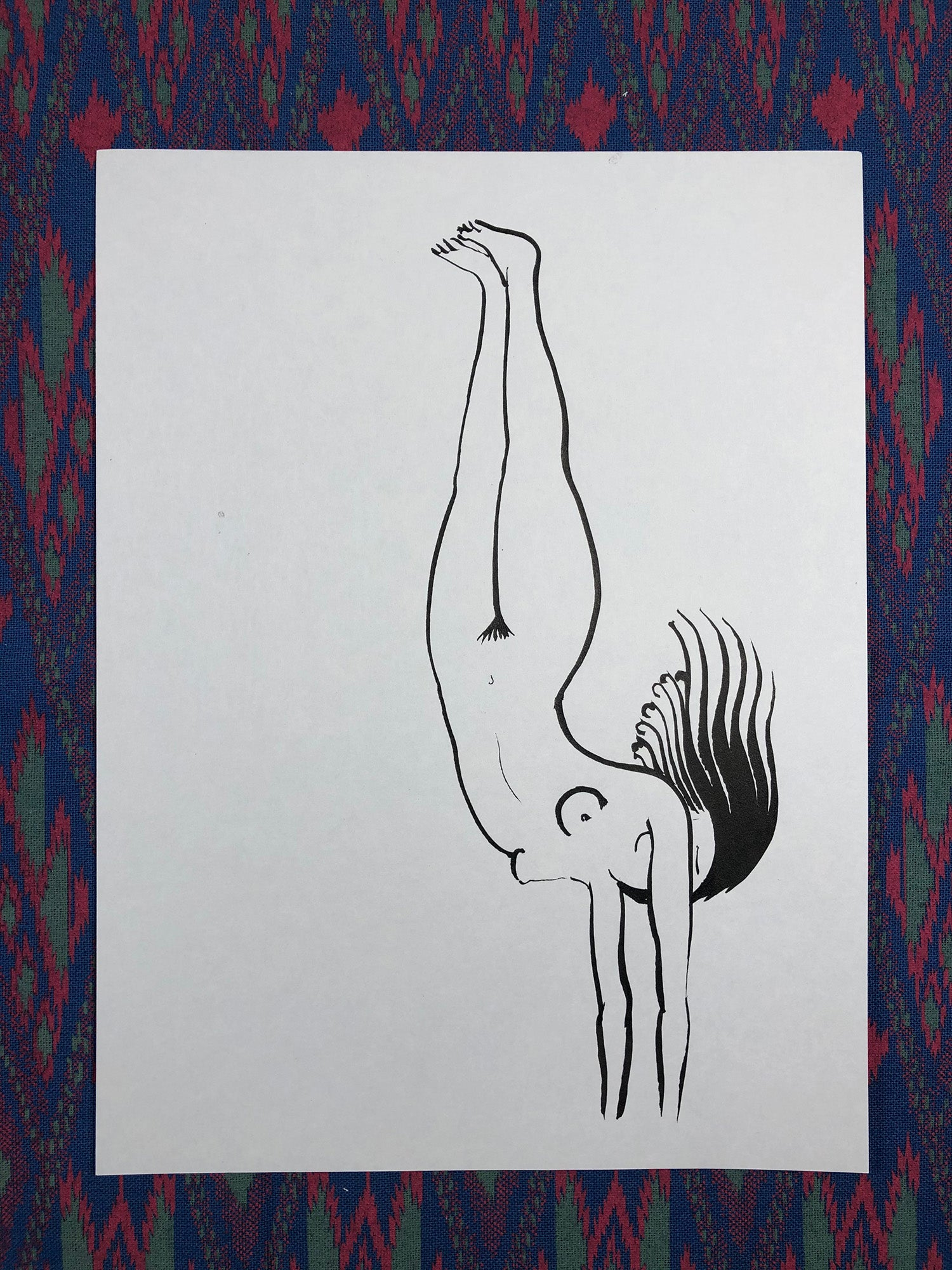 Falling Flying Ink Drawing - Original Art
