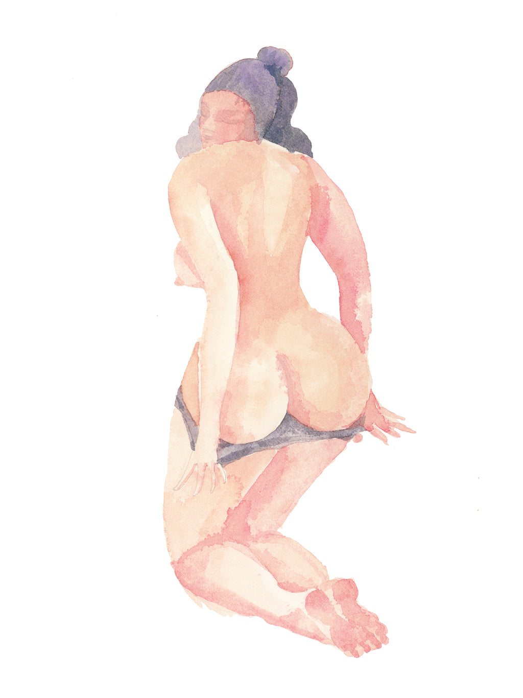 Watercolor Woman Undressing - Original Art
