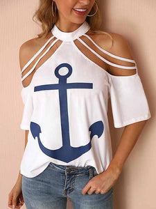 Cold Shoulder Boat Anchor Print T-Shirt