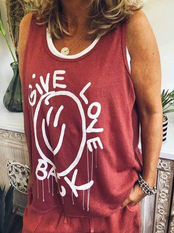 wiccous.com Plus Size Tops Brick red / S Fake Two Piece GIVE LOVE BACK Print Vest