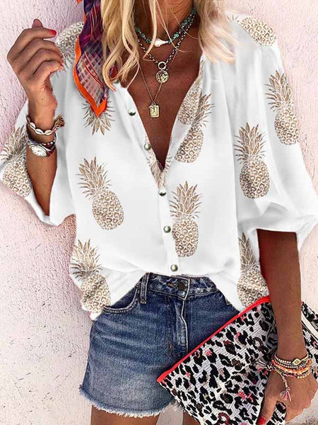 Pineapple Print Buttoned Casual Blouse