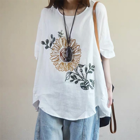 Large size Loose Cotton and Linen T-Shirt