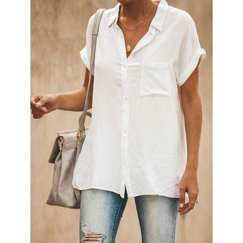Women's V-neck loose shirt