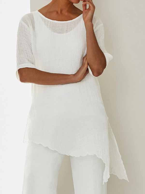 Asymmetrical hem short sleeve crew neck shirts