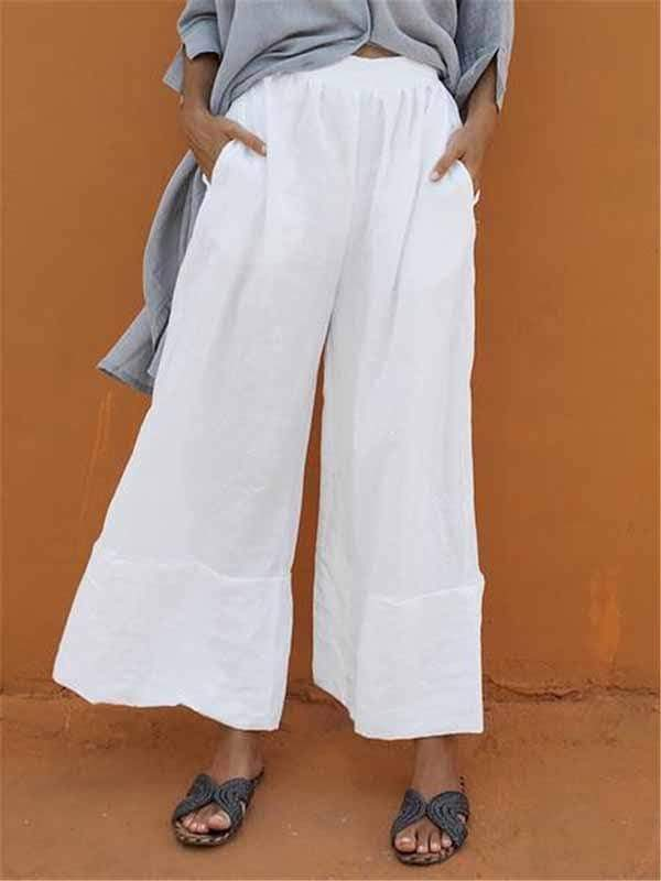 wiccous.com Plus Size Bottoms White / L Plus size cotton linen nine-point wide-leg pants