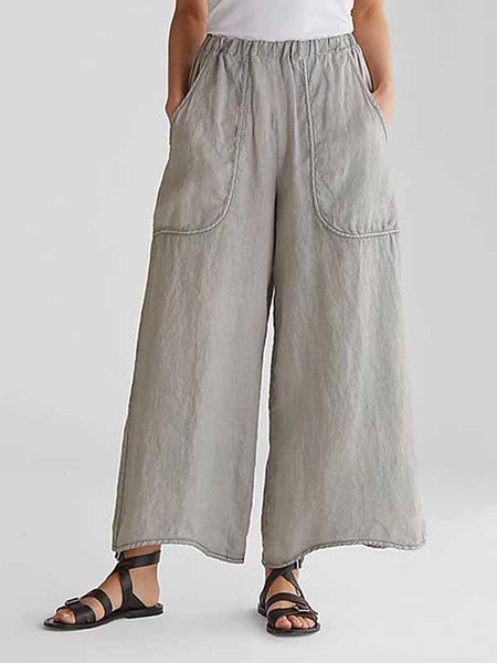 Casual Pocket Cotton Wide Leg Pants