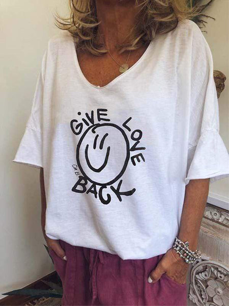 wiccous.com Plus Size Tops White / S Plus Size GIVE LOVE BACK Letter Print T-Shirt