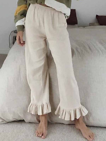 Cotton linen ruffled flared pants
