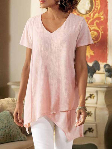 V-Neck Irregular Linen Blouse