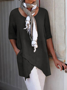 Casual Crew Neck Half Sleeve Asymmetric Tunic Blouses