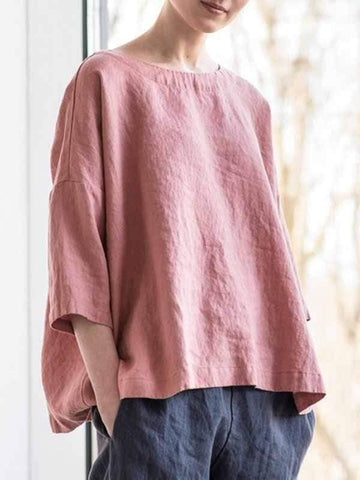 wiccous.com Plus Size Tops Pink-1 / S Loose Round Neck Cotton Linen T-Shirt