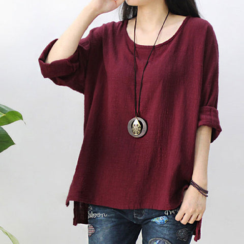 Solid color cotton and linen women's shirt