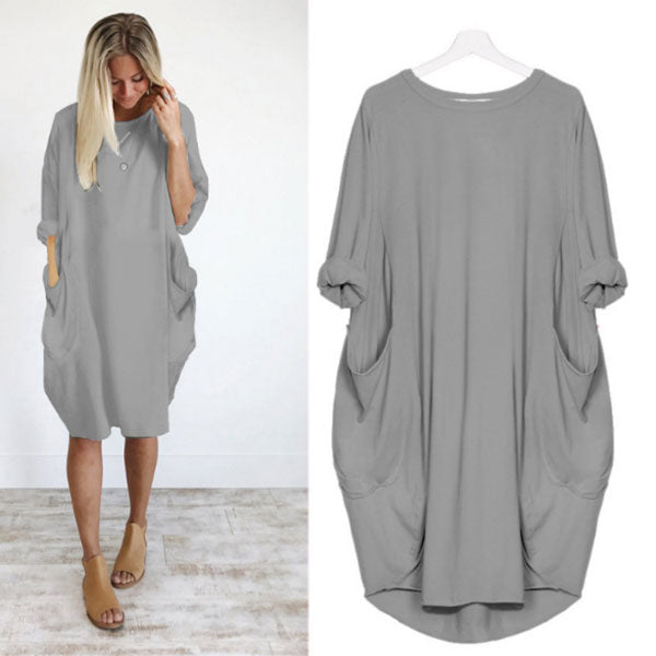 Solid color casual loose pocket long sleeve dress