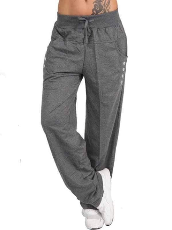 wiccous.com Plus Size Bottoms Dark Gray / S Casual Trousers