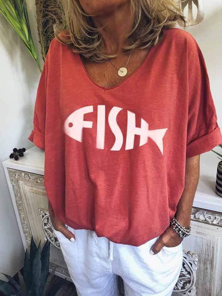wiccous.com Plus Size Tops Fish Bone Print T-Shirt