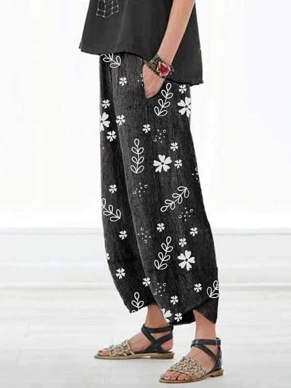 wiccous.com Plus Size Bottoms Black / S Casual Cotton Linen Small Flower Pants