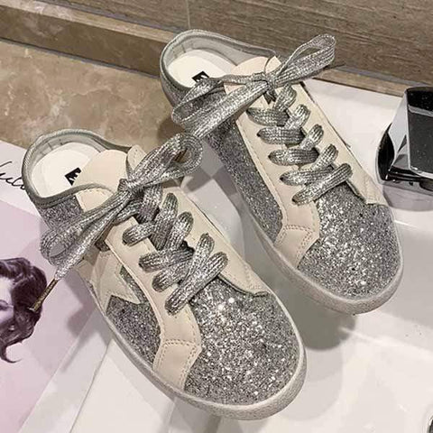 wiccous.com Shoes Silver / 35 Sequins star half canvas shoes