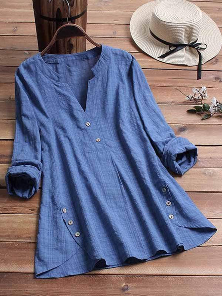 wiccous.com Plus Size Tops Blue / L Plus size irregular hem button top
