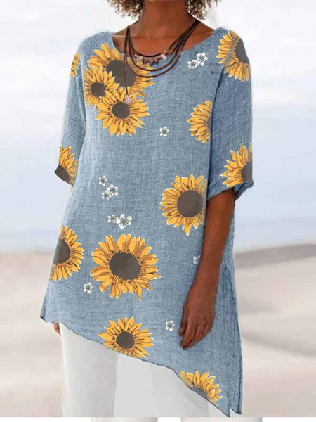 Sunflower Printed Cotton Top