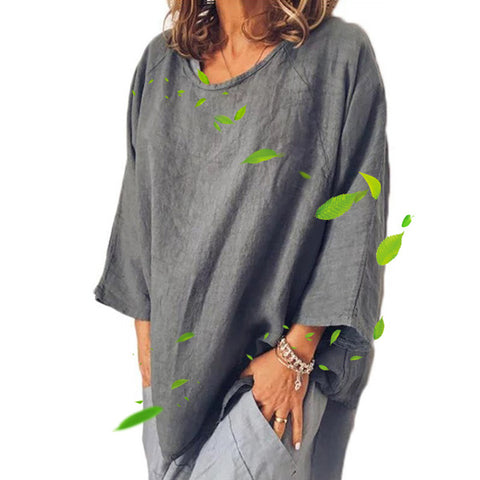 Cotton and linen round neck loose  pullover shirt