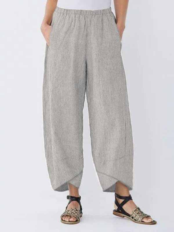 Casual Cotton Linen Striped Pants