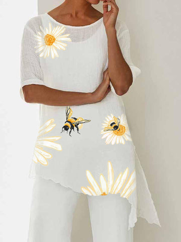 Irregular hem sunflower cotton top